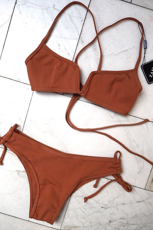 ZAFUL Terracotta Rib Bikini