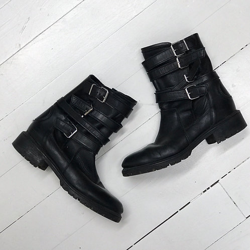 Zara Buckled Leather Boots