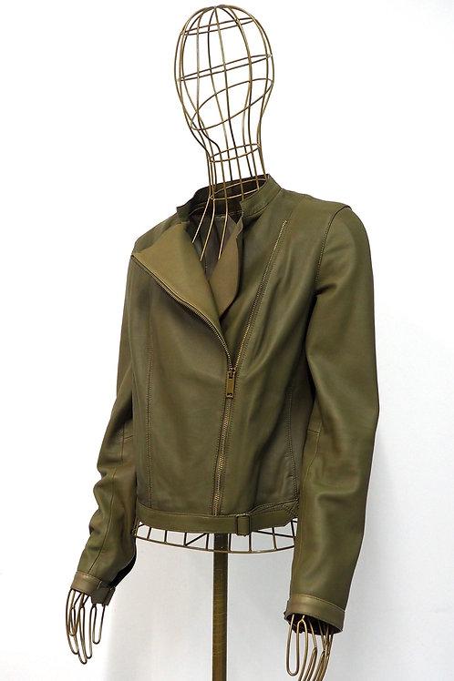 MASSIMO DUTTI Olive Biker Leatherjacket
