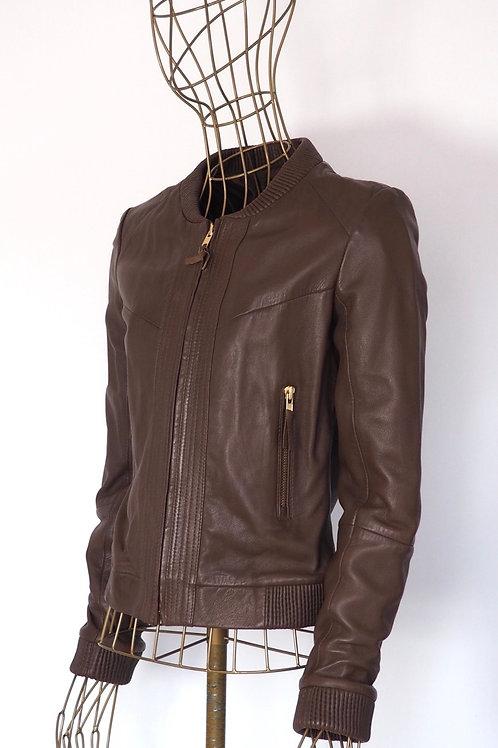 MANGO Chocolate Brown Leather Bomber