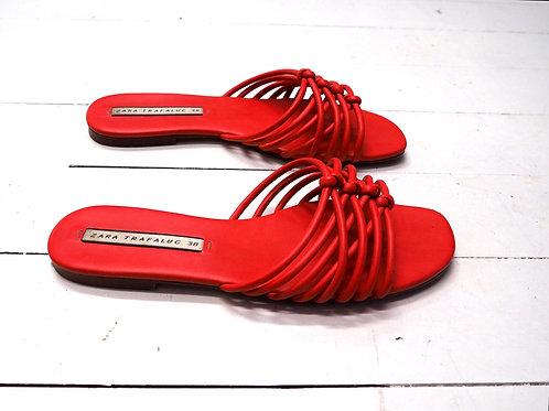ZARA TRF Vibrant Red Slippers