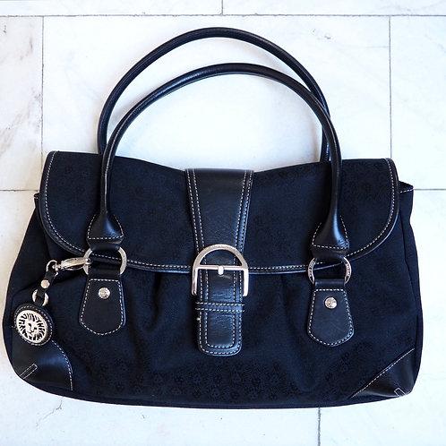 ANNE KLEIN Buckled Canvas/Leather Bag