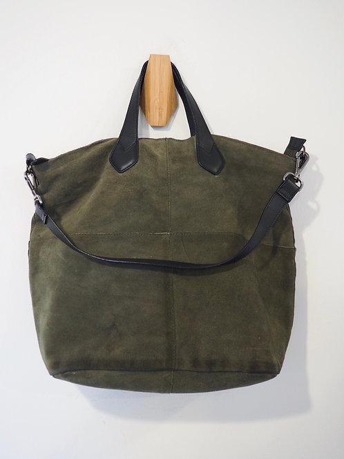 SUEDE Leather Khaki Totebag