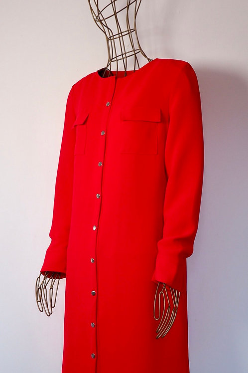 PRIVATE CO. Red Buttoned Shirtdress/Light Coat