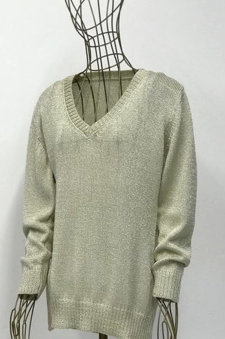 Beige Shiny V-neck Sweater