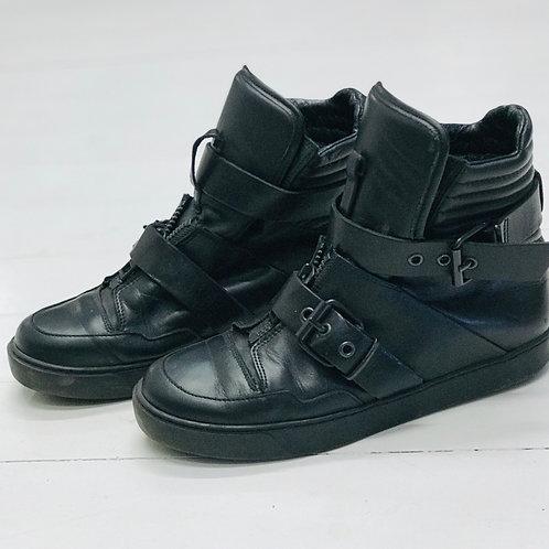 All Saints Black Buckle Sneakers