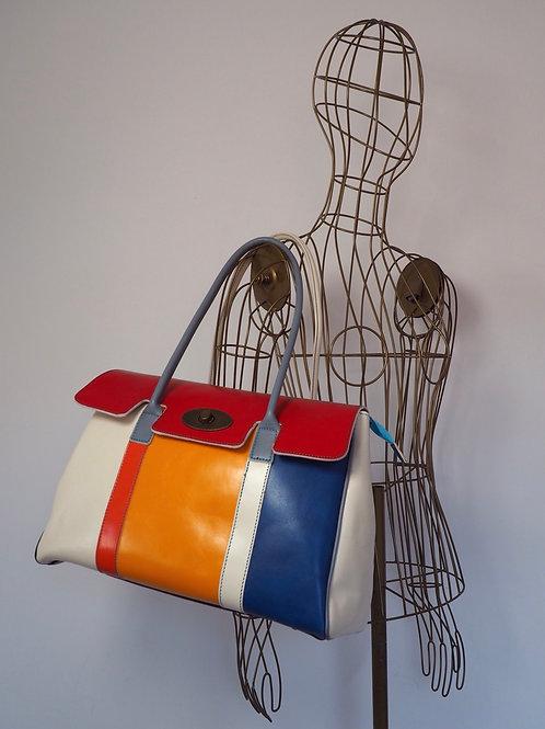 COLOR Block Leather Handbag