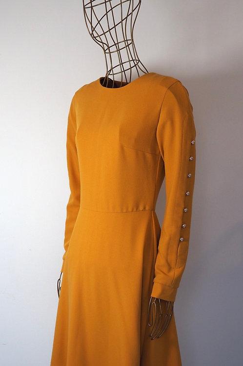 ANNA DAUBNER Mustard Dress with Buttons