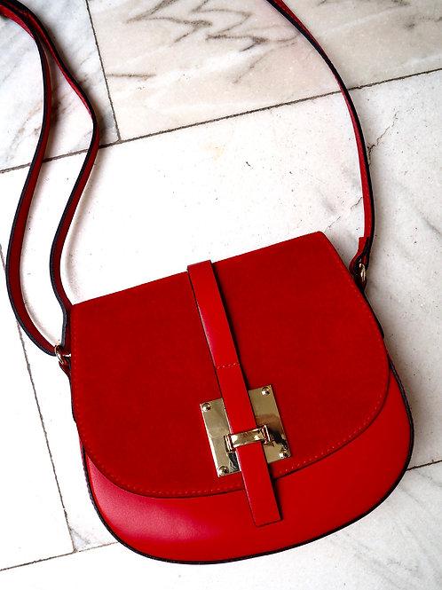 VERA PELLE Red Leather Crossbody Bag