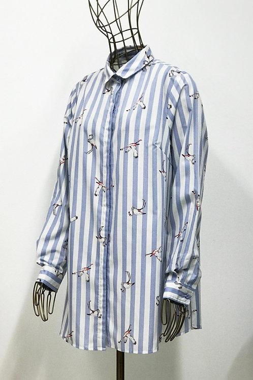 Flamingo Print A-line Shirt