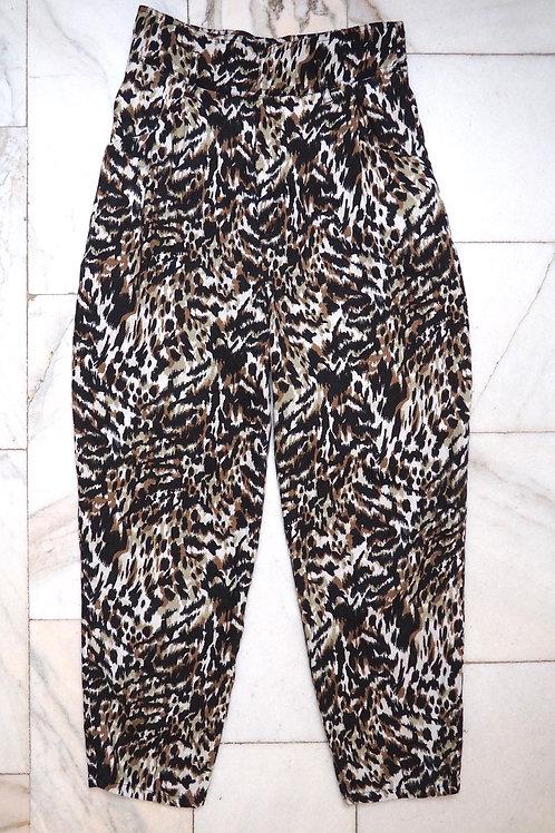 ZARA Linen Leopard Carrot Pants