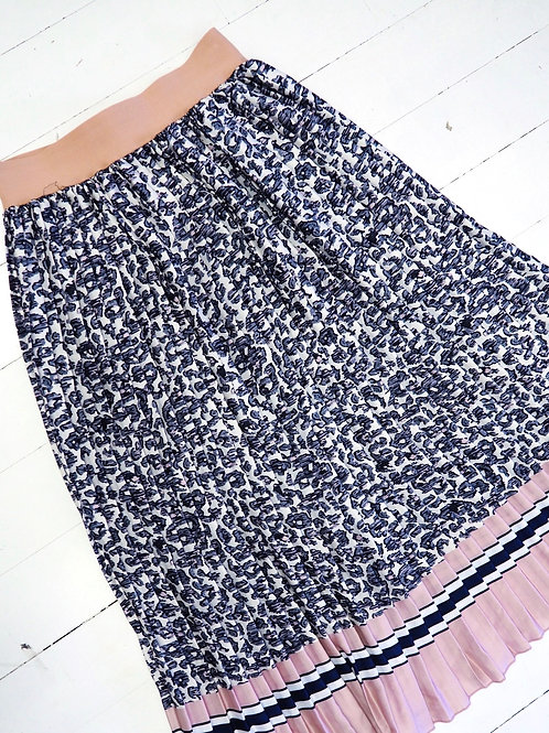 PLEATED Leopard Contrast Skirt