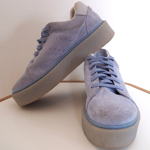 LIGHT Blue Leather Sneakers