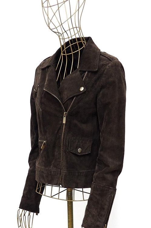 MANGO Nubuck Deepbrown Leather Jacket