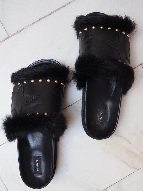 PINKO Studded Fur Slippers