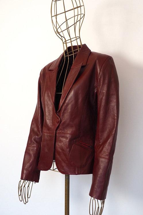 VINTAGE Burgundy Leather Jacket