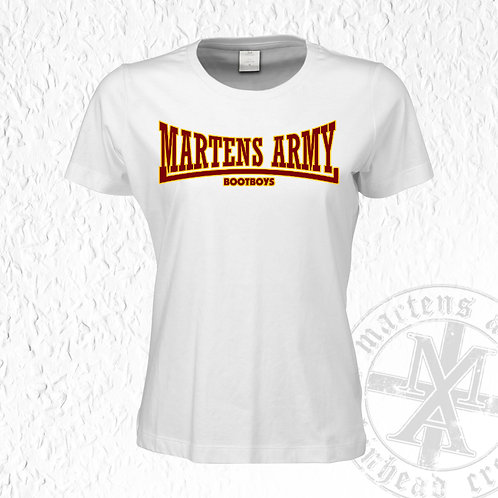 Martens Army - Lonsdale Style, Girlie Shirt, Weiß