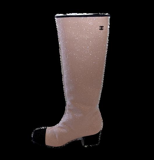 Chanel Glitter Boots sz 9 w/Interlocking CC logo
