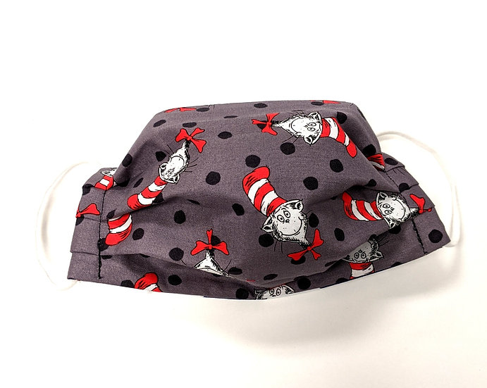 Cat in the Hat 3 Layer Cotton Reversible Washable Face Mask