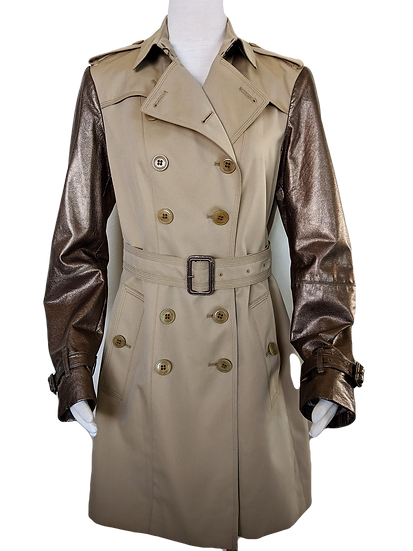 Burberry London Trench Coat w/leather sleeves Size 12