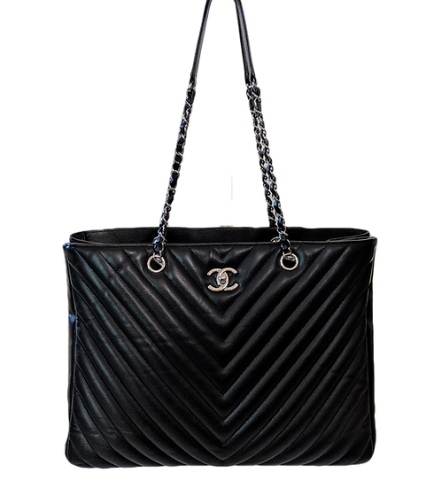CHANEL Caviar Large Quilted Chevron Timeless Tote