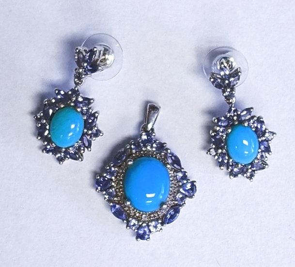 Sleeping Beauty Turquoise & Tanzanite Pendant & Earrings