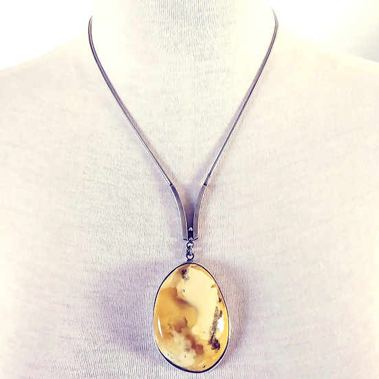 Butterscotch Egg Yolk Amber Necklace in Sterling Silver