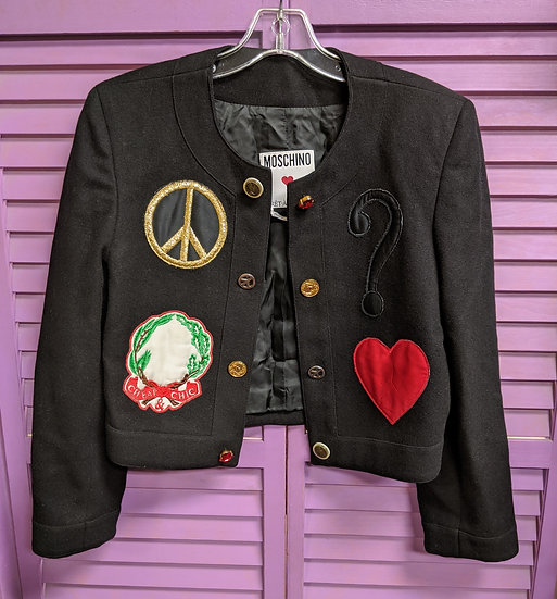 Moschino Cropped Wool Peace Jacket Sz Small
