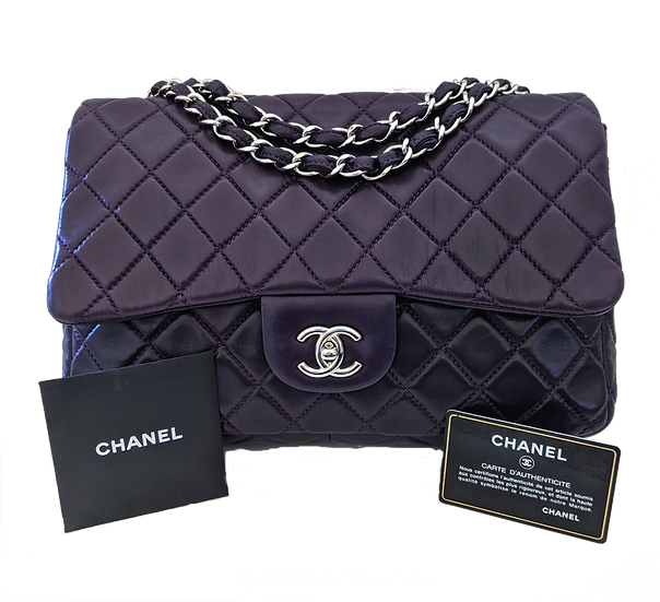 CHANEL Purple Jumbo Lambskin Flap Purse