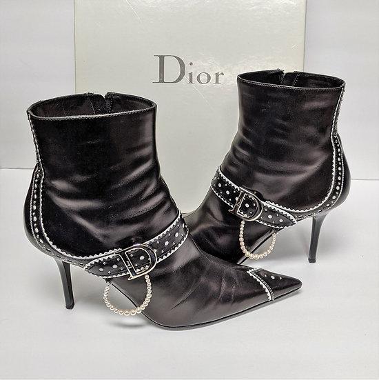 Christian Dior D Trick Boots w/Pearls sz 41 US 10