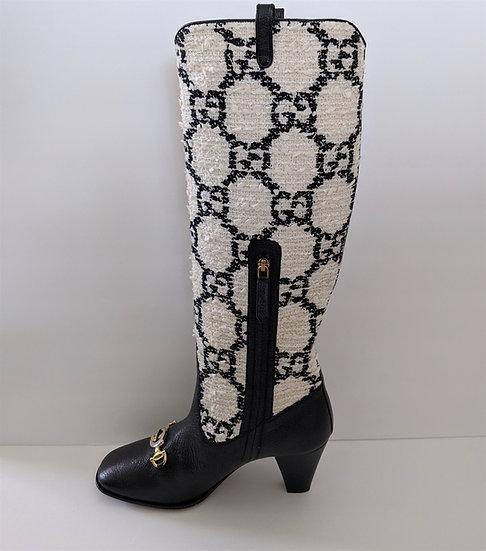 NEW GUCCI Zumi Tweed Knee Boots sz 39 (US 9)