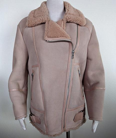 Joie Darnesha Pink Shearling Moto Jacket Medium