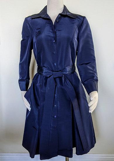 Carolina Herrera Blue Silk Coat Dress Size 10