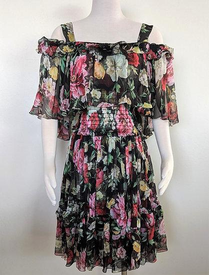 DOLCE & GABBANA Silk Cold Shoulder Dress sz 44 (US 8