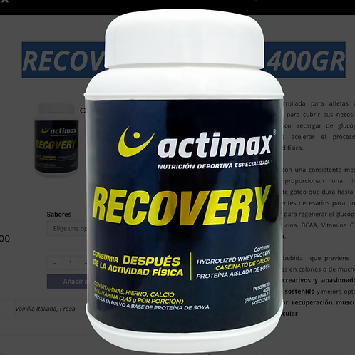 RECOVERY – TARRO 400GR actimax