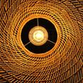 Intérieur de luminaire osier blanc  point de tresse en spirale dimensions : 30 cm à la base, 60 cm à l'ouverture, 80 cm de tressage
