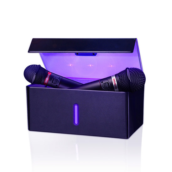UV紫外線除菌BOX JOYSOUNDに採用 マイク除菌・スマホ除菌・大容量・折り畳める・高級感革インテリアデザイン