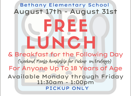 Free Lunch and Breakfast August 17th - August 31st!