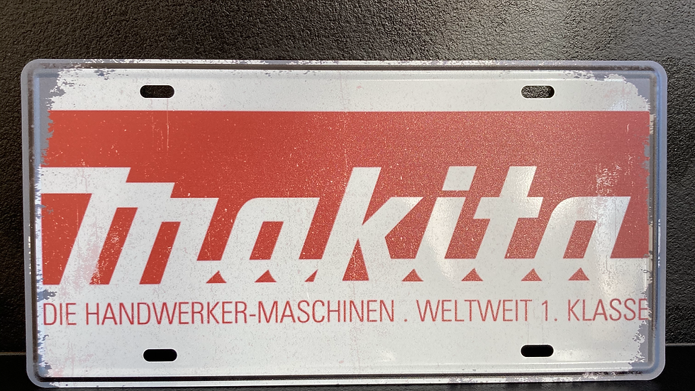 Nummerplaat van Makita wit
