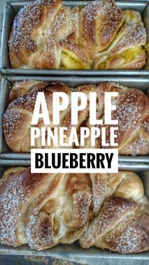 Apple,Pineapple,Blueberry loafs