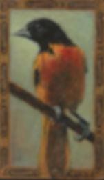 Ed Musante, Oriole/Harvester, dry pigment, gesso, cigar box