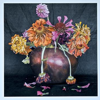spent bouquet-Zinnias in an Imperial vas