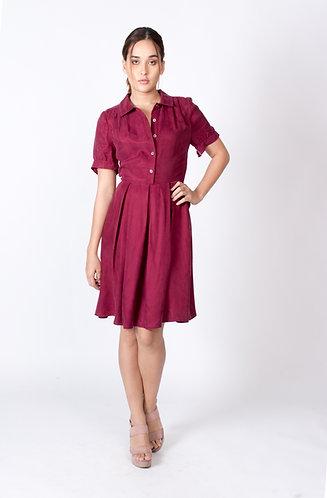 Maroon Cassandra Button up Dress