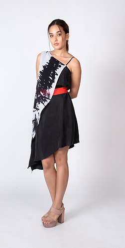 Printed Sylvia Cupro and Chiffon Dress