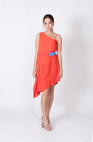 Red Sylvia Cupro and Chiffon Dress