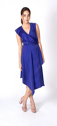 Blue Maroon Wrap Chloe Dress