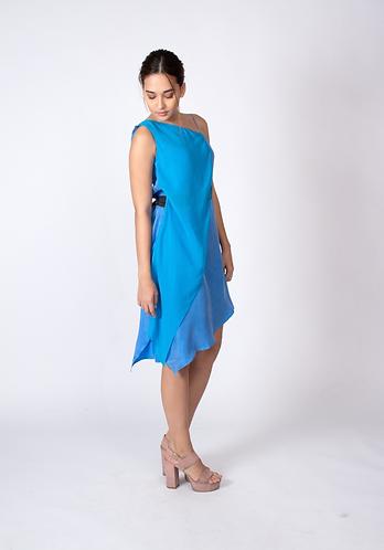 Blue Sylvia Cupro and Chiffon Dress