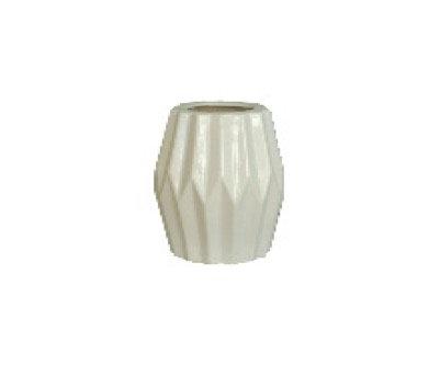White Prisms Short Ceramic Vase