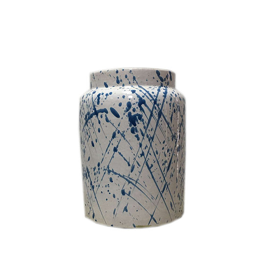 Short White & Blue Abstract Ceramic Vase