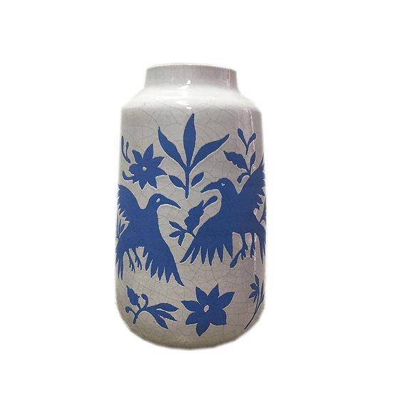 Bird Nature Ceramic Vase (Blue)